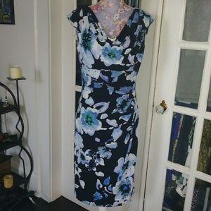 Ralph Lauren Ruched Midi Dress EUC